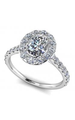 Custom Good Old Gold Engagement Ring w. Diamond Halo product image