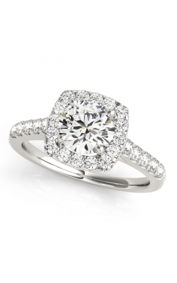 14K Gold Custom Good Old Gold Halo Diamond Engagement Ring product image