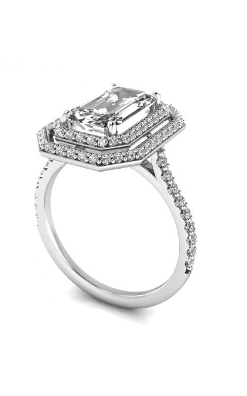 Custom Good Old Gold Engagement Ring w. Emerald Diamond Halo product image