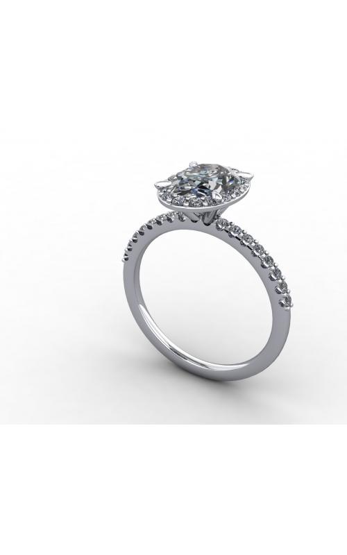 Custom Platinum Halo Engagement Ring product image