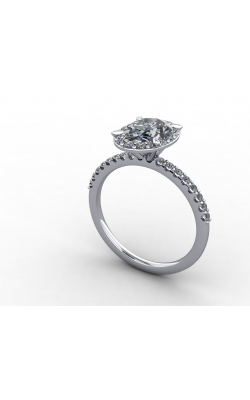 Custom Good Old Gold Platinum Halo Engagement Ring product image