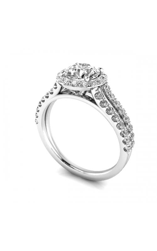 Custom Split Prong Engagement Ring w. Diamond Halo product image
