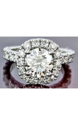 1.34ct HSI1 Round w. Halo Ring w. 1.32cttw sides product image